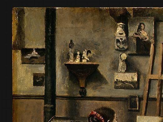 The Artists Studio, c. 1855-1860, Detalj 1, NG Washin. Jean-Baptiste-Camille Corot