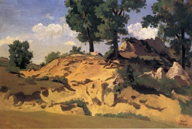 Trees and Rocks at La Serpentara. Jean-Baptiste-Camille Corot