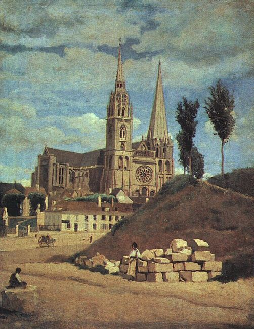 CHARTRES CATHEDRAL, 1830 (RETOUCHED 1872). Jean-Baptiste-Camille Corot