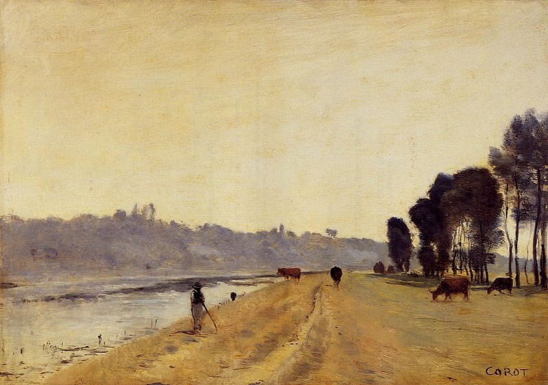 Banks of a River. Jean-Baptiste-Camille Corot