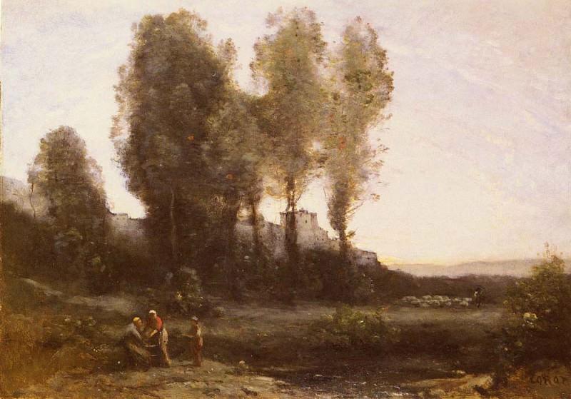 За деревьями - монастырь. Жан-Батист-Камиль Коро