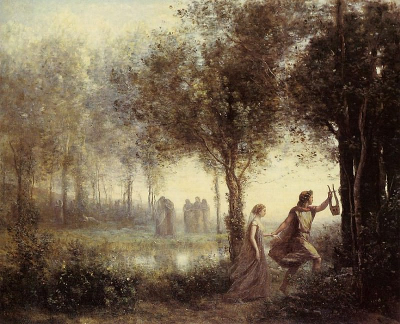 Corot Orpheus Leading Eurydice from the Underworld. Жан-Батист-Камиль Коро