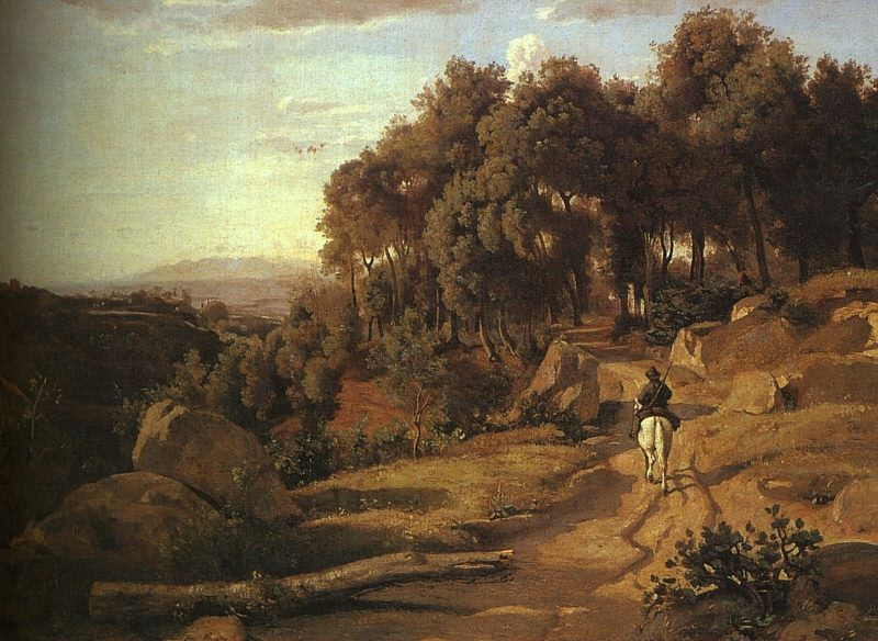 A VIEW NEAR VOLTERRA, 1838, OIL ON CANVAS. Jean-Baptiste-Camille Corot