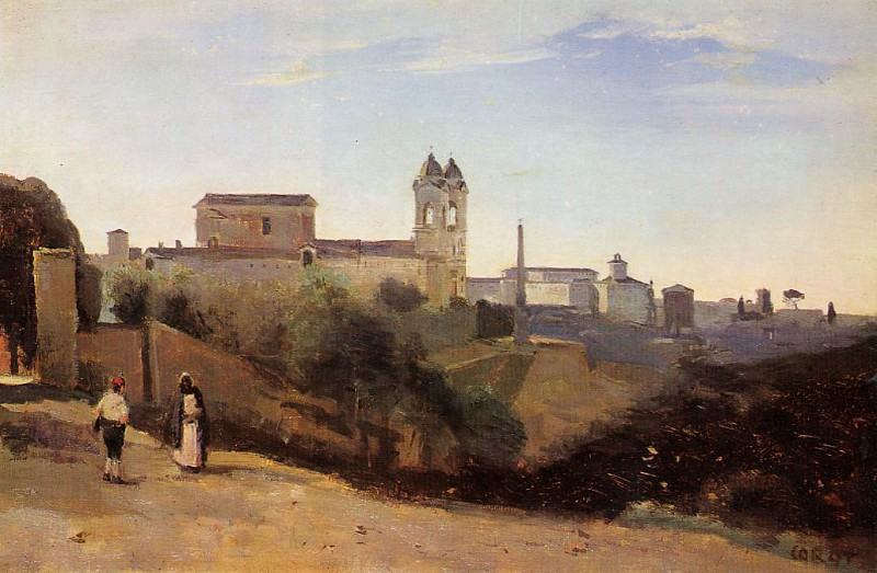 Rome Monte Pinco the Trinita dei Monte View from the Garden of the Academie de France. Jean-Baptiste-Camille Corot