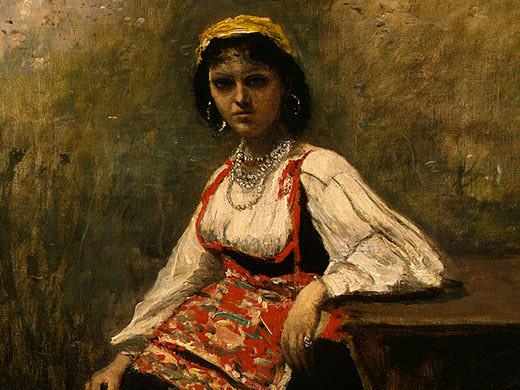 Итальянская девушка, фрагмент, ок.1871-72. Жан-Батист-Камиль Коро
