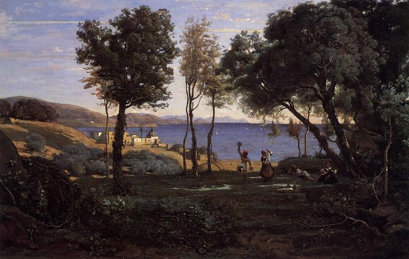 View near Naples. Jean-Baptiste-Camille Corot