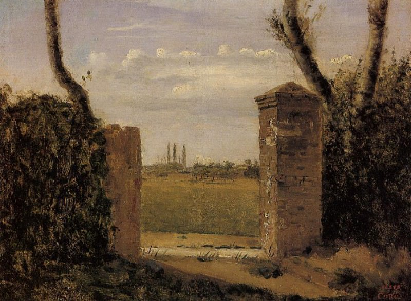 Boid Guillaumi near Rouen A Gate Flanked by Two Posts. Jean-Baptiste-Camille Corot