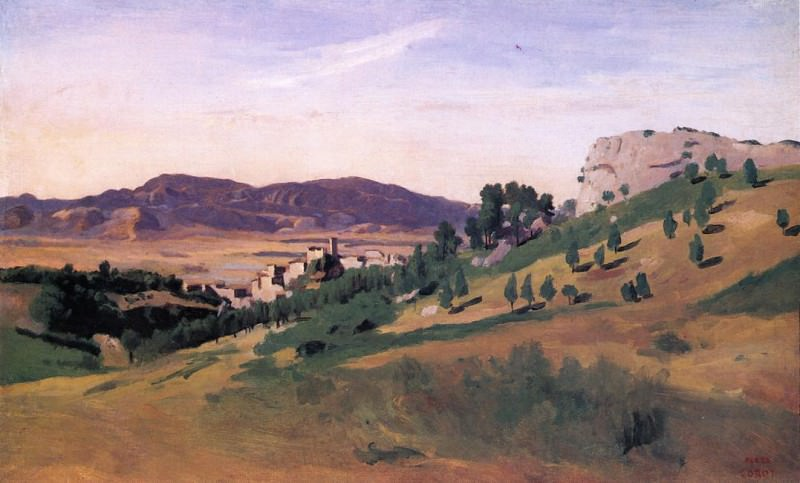 Olevano the Town and the Rocks. Jean-Baptiste-Camille Corot