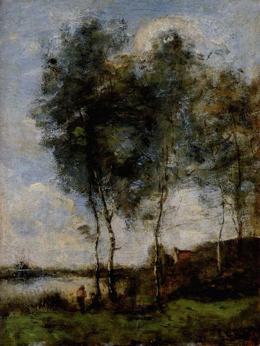 Pecheur Au Bord De La Riviere. Jean-Baptiste-Camille Corot