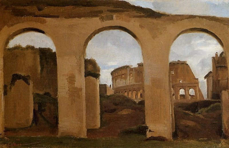 Rome The Coliseum Seen through Arches of the Basilica of Constantine. Jean-Baptiste-Camille Corot