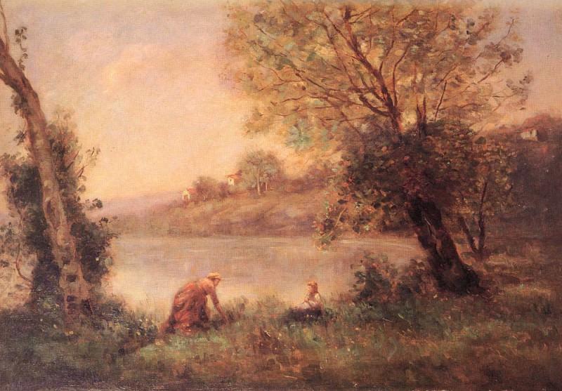 VILLE-D-AVARY-- PAYSANNE ET SON ENFANT ENTRE DEUX ARBRES AU BORD DE L. Jean-Baptiste-Camille Corot