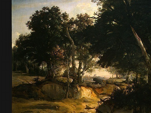 Forest of Fontainebleau, c. 1830, Detalj 1, NG Washing. Jean-Baptiste-Camille Corot