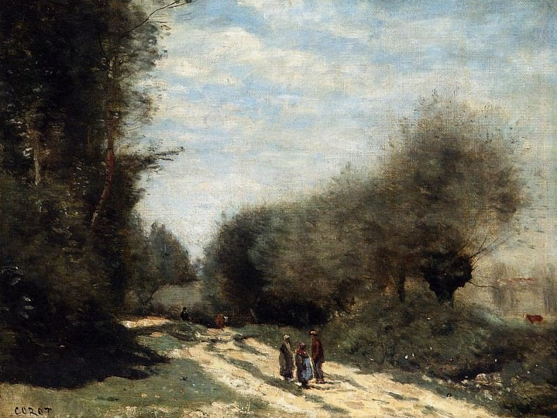 Crecy en Brie Road in the Country. Jean-Baptiste-Camille Corot