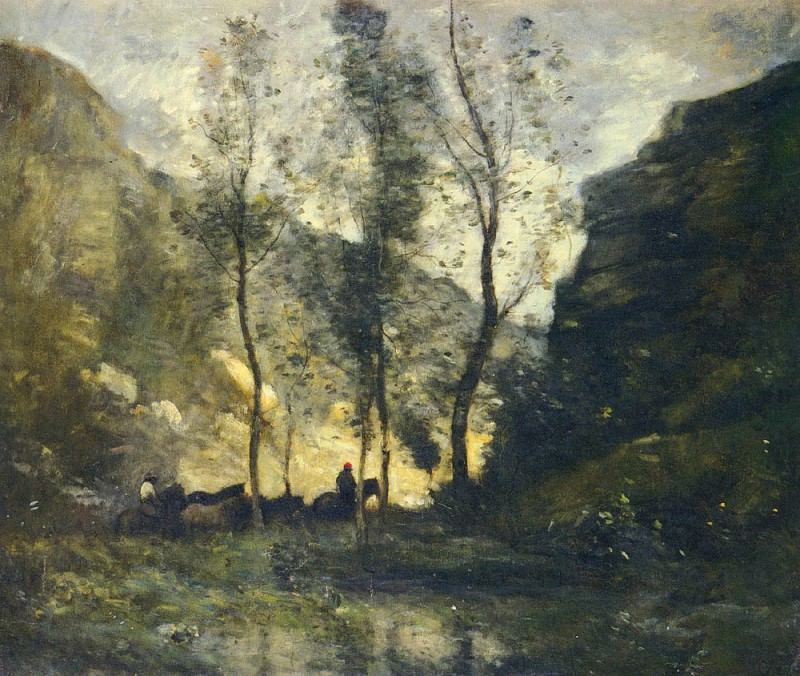 LES CONTREBANDIERS. Jean-Baptiste-Camille Corot