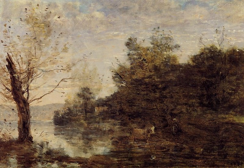 Cowherd by the Water. Jean-Baptiste-Camille Corot