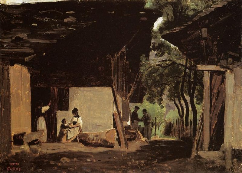 Entrance to a Chalet in the Bernese Oberland. Jean-Baptiste-Camille Corot