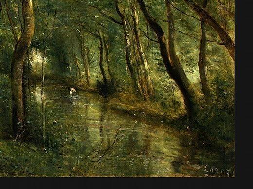 The Eel Gatherers, c. 1860-1865, Detalj 4, NG Washingt. Jean-Baptiste-Camille Corot