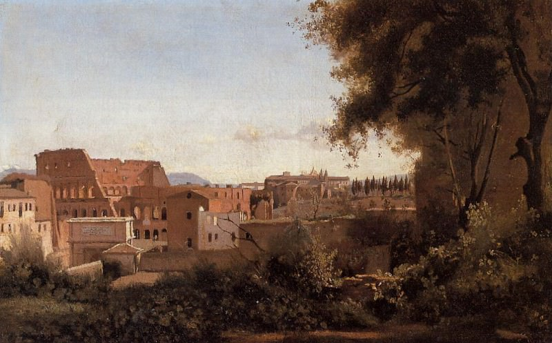 Rome View from the Farnese Gardens Noon aka Study of the Coliseum. Jean-Baptiste-Camille Corot