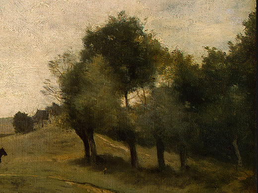 View near Epernon, 1850-1860, Detalj 4, NG Washington. Jean-Baptiste-Camille Corot