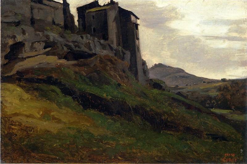 Marino Large Buildings on the Rocks. Jean-Baptiste-Camille Corot