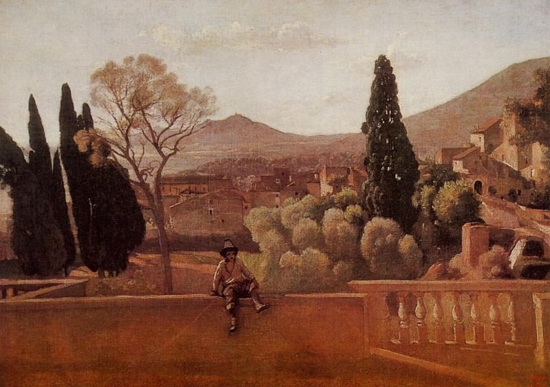 Gardens of the Villa d-Este at Tivoli. Jean-Baptiste-Camille Corot