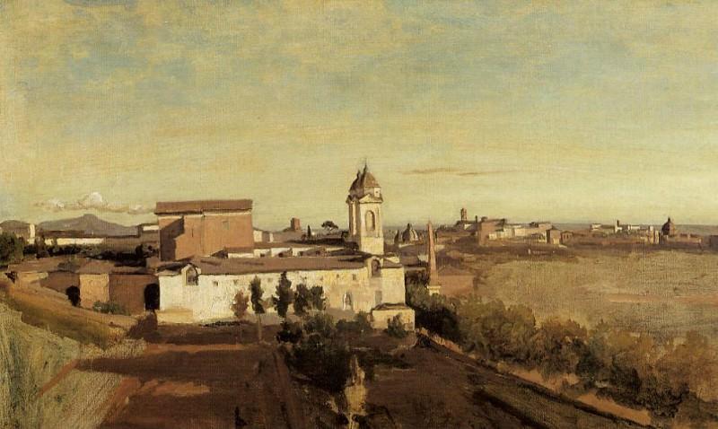 Вид на церковь Тринита деи Монти от виллы Медичи. Жан-Батист-Камиль Коро