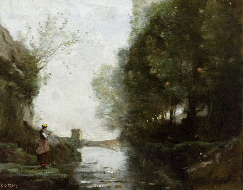 Река, текущая мимо жилой башни. Жан-Батист-Камиль Коро