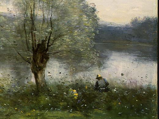 Ville dAvray, c. 1867-1870, Detalj , NG Washington. Jean-Baptiste-Camille Corot