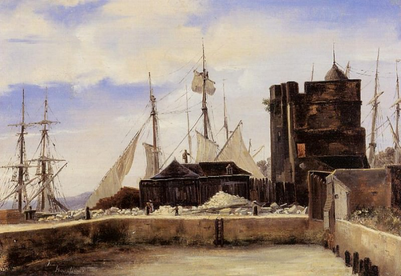 Honfleur The Old Wharf. Jean-Baptiste-Camille Corot