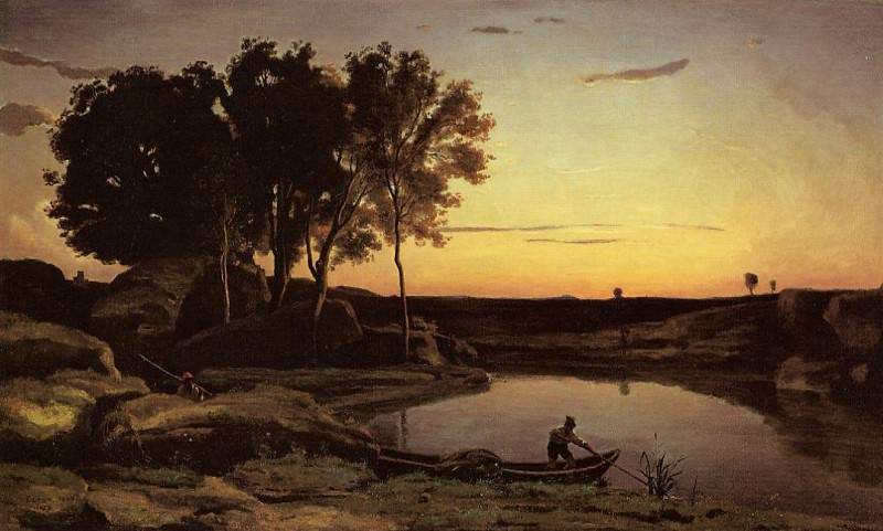 Evening Landscape aka The Ferryman Evening. Jean-Baptiste-Camille Corot