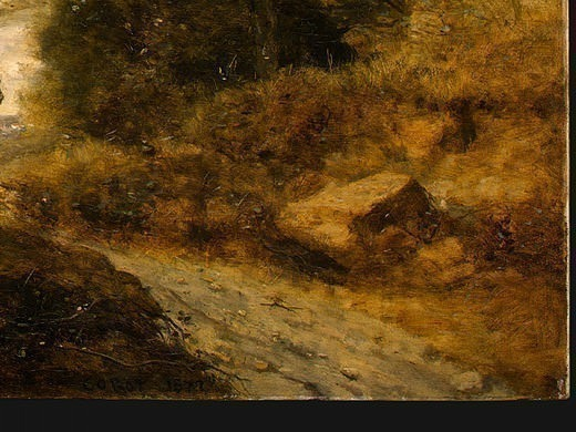The Forest of Coubron, 1872, Detalj 4, NG Washington. Jean-Baptiste-Camille Corot