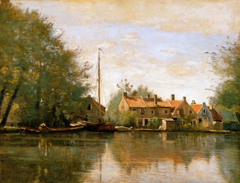 Camille River landscape in Holland. Jean-Baptiste-Camille Corot