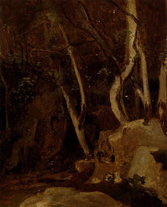 A Civita Castellana Rochers Boises. Jean-Baptiste-Camille Corot