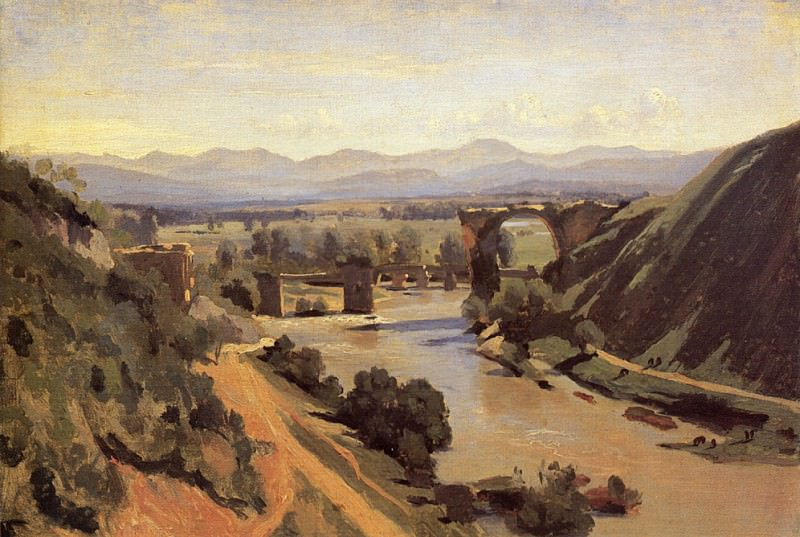 The Augustan Bridge at Narni. Jean-Baptiste-Camille Corot