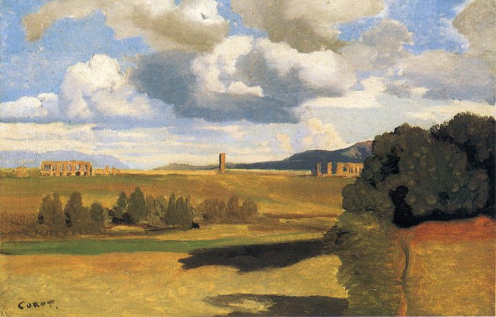 The Roman Campaagna with the Claudian Aqueduct. Jean-Baptiste-Camille Corot