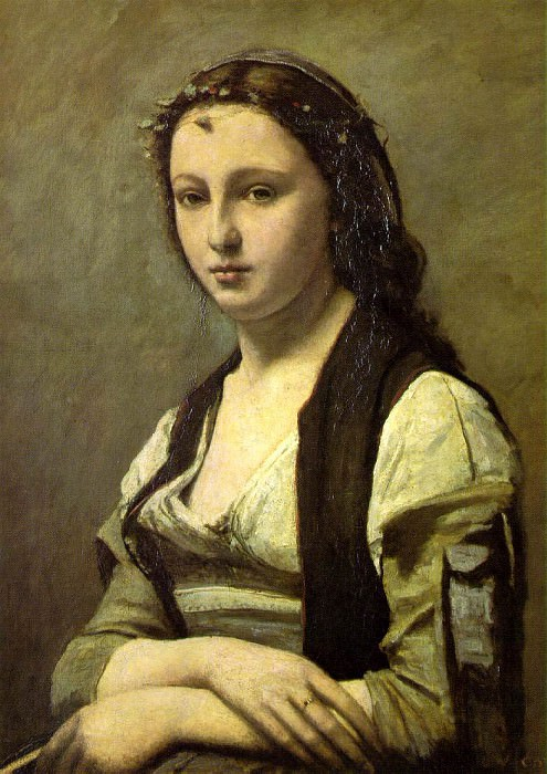 Woman with a Pearl 70x55 Louvre Paris. Jean-Baptiste-Camille Corot
