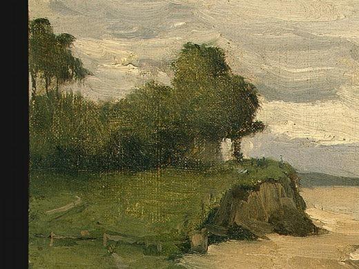 Beach near Etretat, 1872, Detalj 2, NG Washington. Jean-Baptiste-Camille Corot