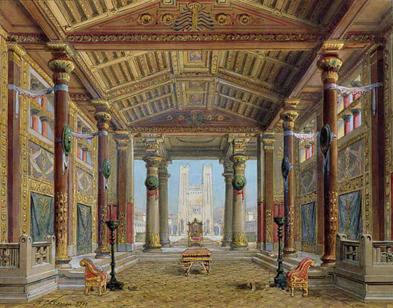 Set design for Athalie by Jean Racine (1639-99) performed at the Comedie Francaise. Philippe Marie Chaperon