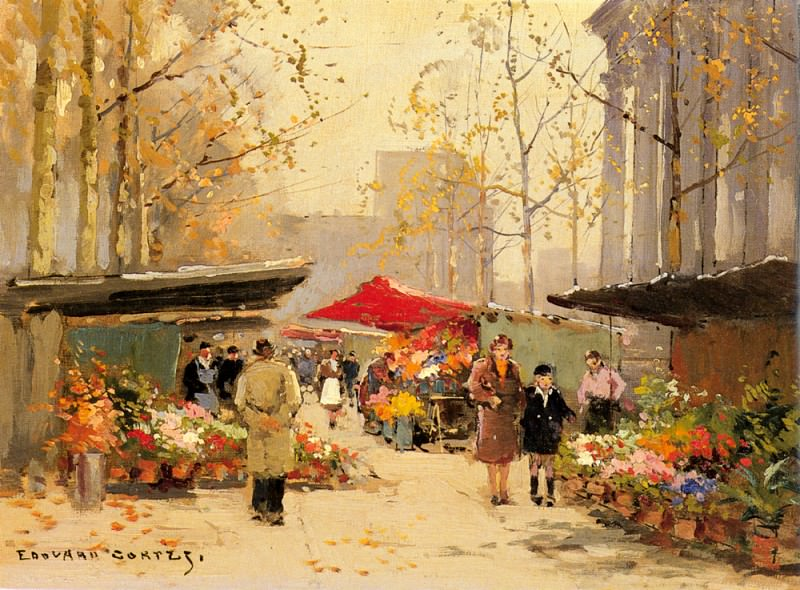 Flower Stalls By The Madeleine. Edouard-Léon Cortès