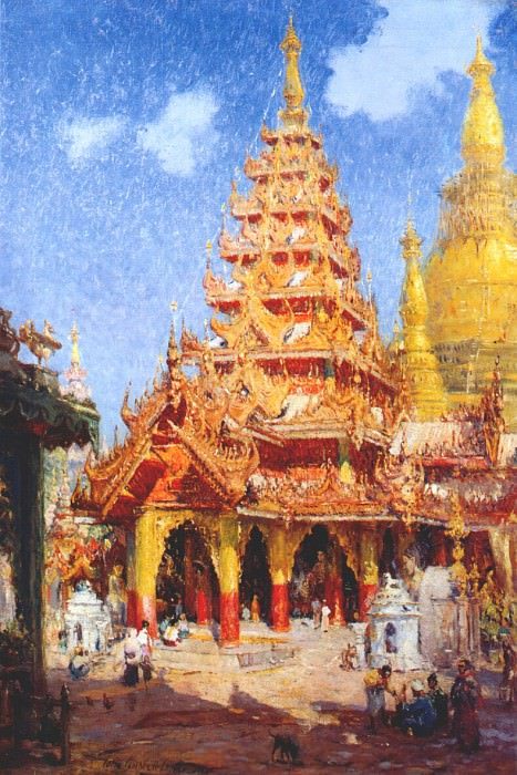 shwe dagon pagoda, burma c1915. Colin Campbell Cooper Jr.
