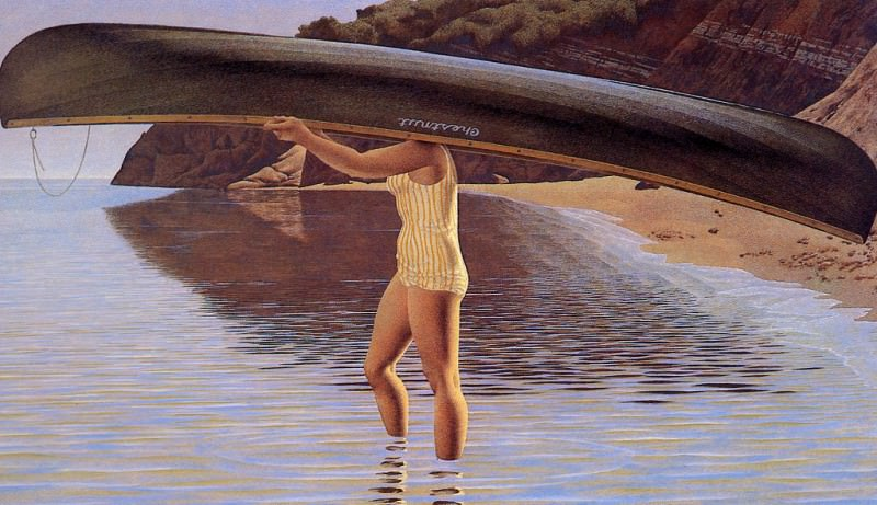 Woman Carrying Canoe. Alex Colville