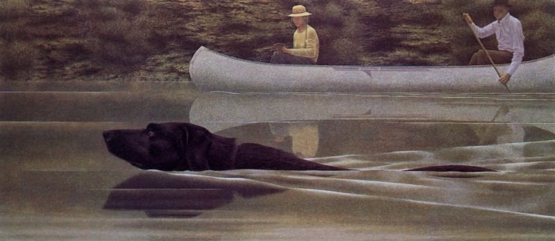 Swimming Dog and Canoe. Alex Colville