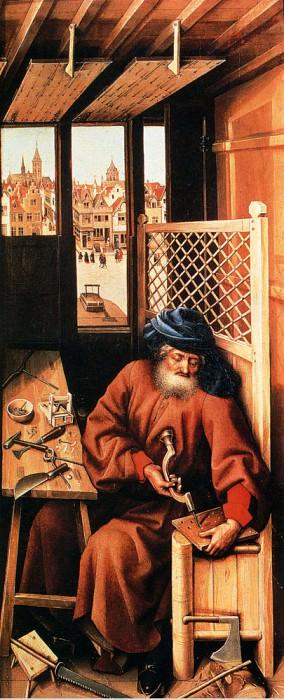 Св. Иосиф в образе плотника (правая панель триптиха -Благовещение-). Роберт Кампен