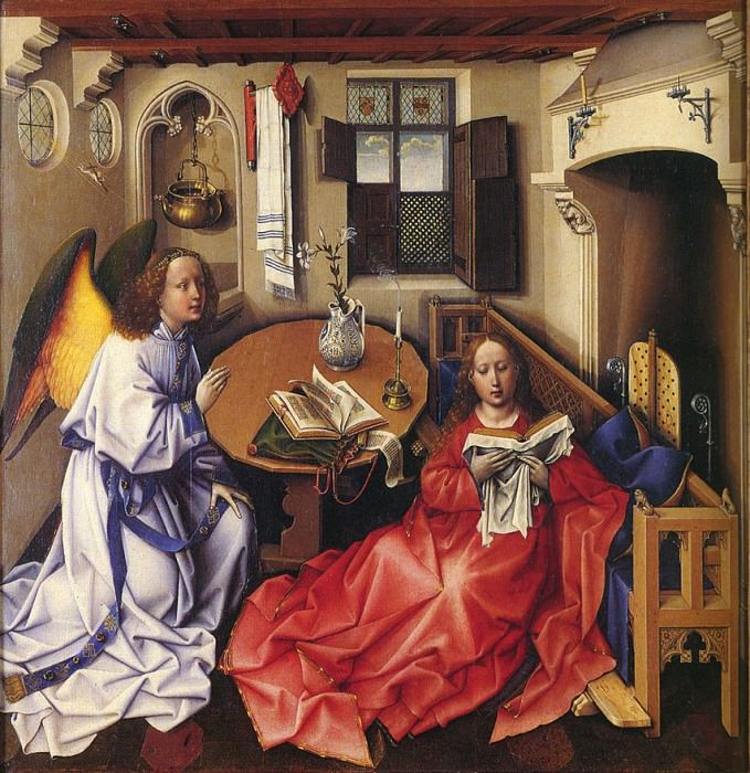 Центральная панель триптиха Благовещение. Роберт Кампен