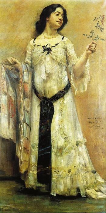 Портрет Шарлотты Беренд в белом платье. Ловис Коринт