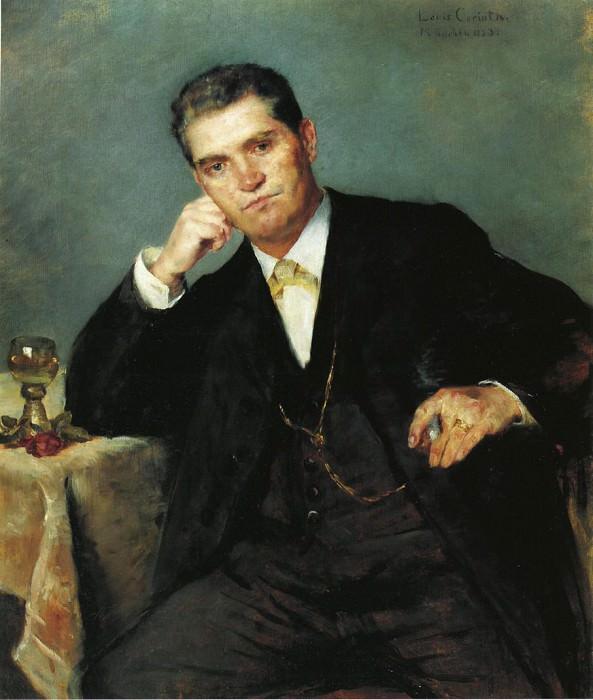 Portrait of Franz Heinrich Corinth with a Glass of Wine. Lovis Corinth