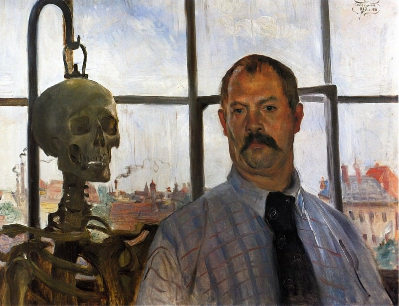 Self Portrait with Skeleton. Lovis Corinth