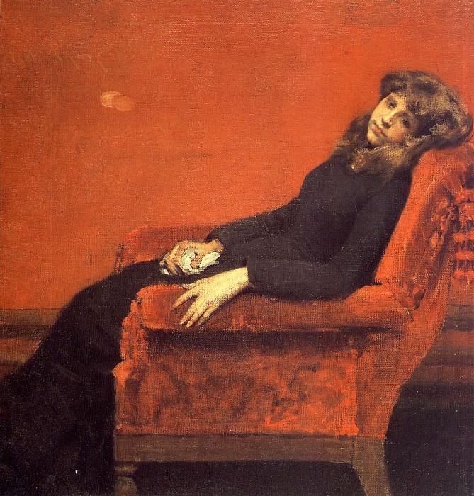 The Young Orphan Study of a Young Girl aka At Her Ease. William Merritt Chase