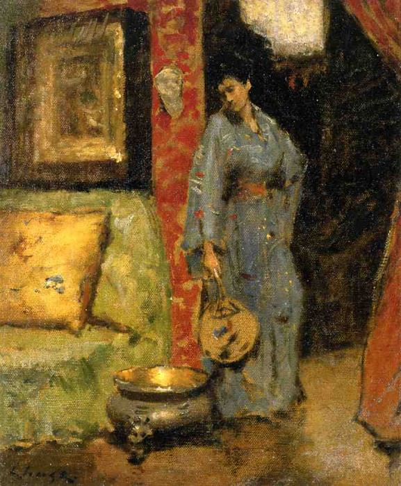 Woman in Kimono Holding a Japanese Fan. William Merritt Chase