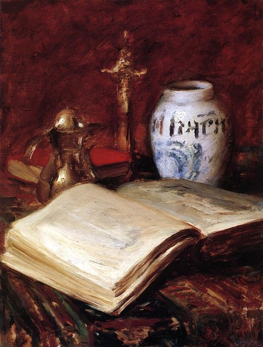 The Old Book. William Merritt Chase